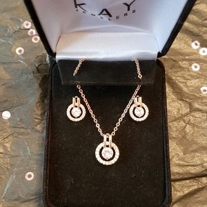 Nib 18k Rose Gold Diamond Necklace & Earring Kays